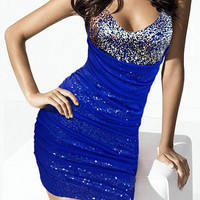 Sapphire Blue Mesh Layered Sequined Bodycon Dress