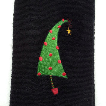 Retro Christmas Tree Embroidered on a black kithen or bath towel