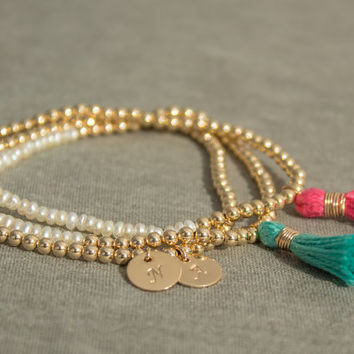 Gold Filled White Pearl Tassel Stack bracelets- Personalized