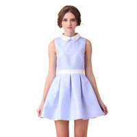 Casual Chiffon Peter Pan Collar Zipper Back Pleated Mini Skater