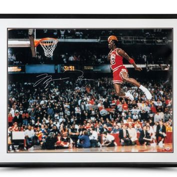 MICHAEL JORDAN SIGNED SLAM DUNK 30X40 FRAMED PHOTO UDA COA AUTOGRAPH UPPER DECK