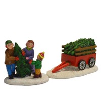 St. Nicholas Square Village Family Picking Out Tree (Set of 2)