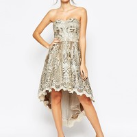 Chi Chi London Premium Metallic Lace Bandeau Dress with High Low Hem