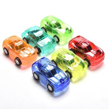 1Pcs  Pull Back Car Candy Color Plastic Cute Toy Cars For Child Hot Wheels Mini Car Model Kids Toys For Boys