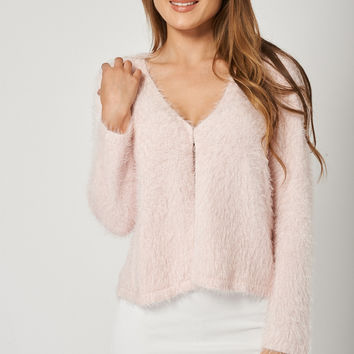 Super Soft Cropped Long Sleeve Pink Fluffy Cardigan