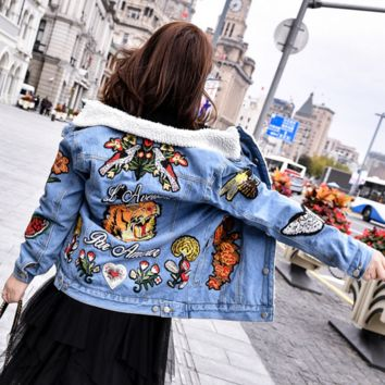 Fashion Casual Tiger Embroider Wool Leather Long Sleeve Zipper Cowboy Coat