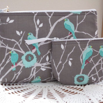 Cottage Birds Iphone Smart phone Case Gadget  Pouch Clutch Wristlet Zipper Gadget Pouch Set