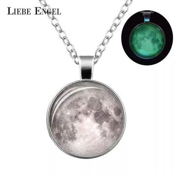 LIEBE ENGEL Glowing in the Dark Galaxy Moon Pendant Necklace For Women