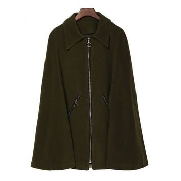 Benuynffy Army Green Cloak Coat for Women Vintage Loose Lapel Zipper Woolen Cape with Pocket Outerwear Casual Winter Women Coats