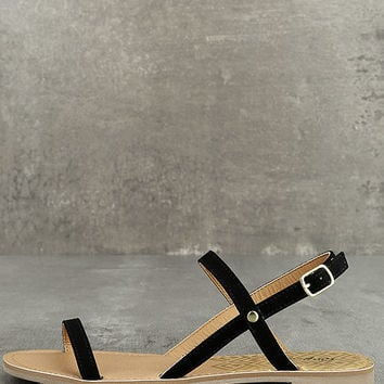 Rika Black Nubuck Flat Sandals