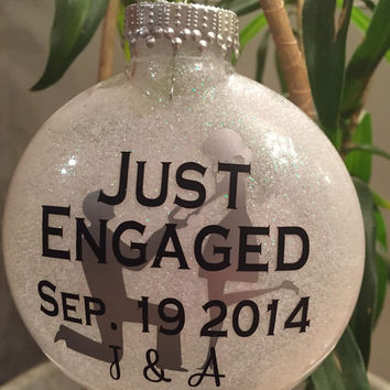 Custom Just Engaged Christmas Ornament