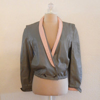 Vintage 80s Gray and Pink Leather Womens Cropped Bomber Fall Coat sz M