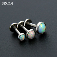 Fire Opal Earrings Studs Triple Helix Piercing Surgical Steel Labret Lip Nose Body Jewelry Conch Tragus Cartilage Ear Piercing