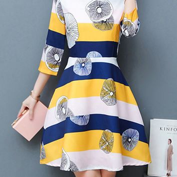 Streetstyle  Casual Round Neck Printed Striped Skater Dress