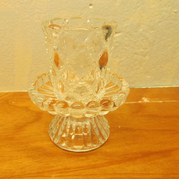 VINTAGE SMALL LEAD CRYSTAL CANDLE HOLDER