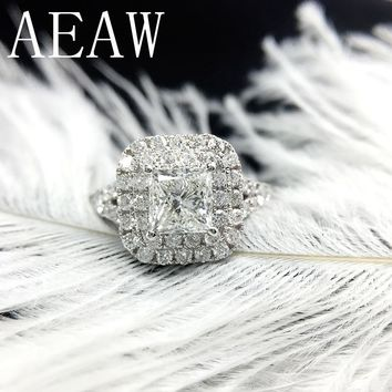 AEAW Solid 14K White Gold Princess Square Lab Diamond Ring 1.3ctw Carat DF Moissanite Engagement Halo Ring for Women
