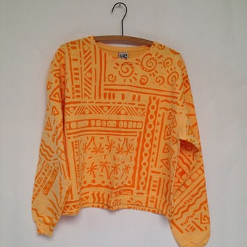 Cropped Vintage Sweatshirt - Citrus Hues Tribal Print - one size