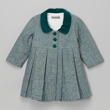 Les Petits Soleils by Fantaisie Kids Gray & Green Tweed Pleated Swing Coat - Infant, Toddler & Girls | zulily
