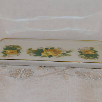 Yellow Rose Bon Bon Tray Vintage Japan Floral Double Handled Small Serving Tray Opalescent Gilded Yellow Vanity Dresser Trinket Tray