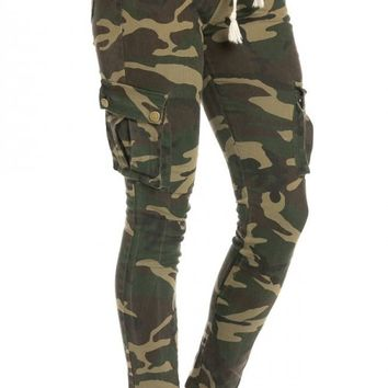 Skinny Drawstring Cargo Pants in Camouflage