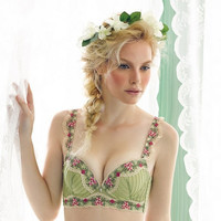 Lingerie underwear sets fashion ballet ice green flower lace embroidery Push Up Four Hook-and-eye sexy women bra and briefs set