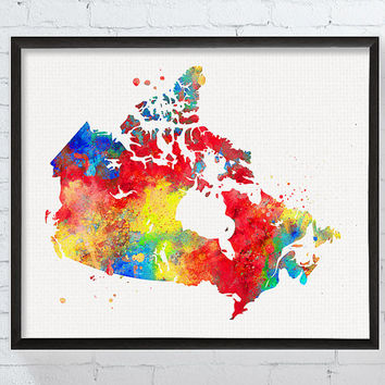 Canada Map, Watercolor Map, Canada Wall Art, Canada Poster, Canada Painting, Map Wall Decor, Framed Print, Custom Color, Gift Idea,Countries