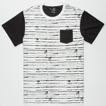 Blue Crown Barbed Wire Mens Pocket Tee Black/White  In Sizes