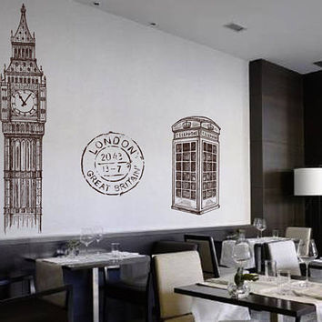 Big Ben Wall Decals Phone Booth Wall Decals London wall decal United Ckock wall decal England travel decor britian wall decal kik2415