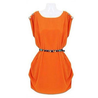 Orange Sleeveless Shoulder Buttoned Dress with Belt