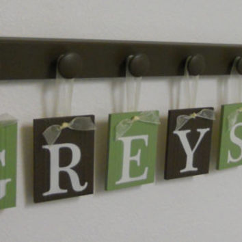 Kids Wall Art - Kids Personalized Hanging Name Sign - GREYSON Includes 7 Wooden Hooks Green and Brown