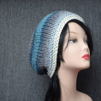 Slouchy Hand Knit winter hat Woman beanie hat blue white chunky slouchy hat