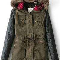Olive Green Black Faux Leather Quilted Contrast Sleeve Faux Fur Hooded Drawstring Waist Anorak Coat