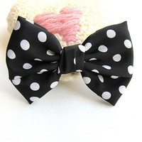 80s Classic Black and White Polka Dot Large Hair Bow Clip -4.5 inches/11.5cm -Ready to Ship Hair Accessories