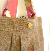 Eco Friendly. Upcycled. Burlap. Market Bag. Fall. Winter. Fashion. Pink. Floral. Alexander Henry. Kleo. FREE U.S. Shipping.