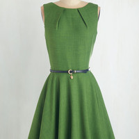 Mid-length Sleeveless Fit & Flare Luck Be a Lady Dress in Fern