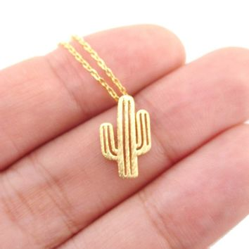 Miniature Arroyo Cactus Shaped Desert Themed Charm Necklace in Gold | DOTOLY