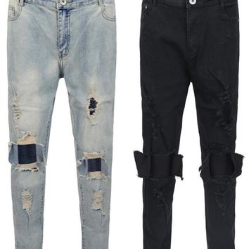 NEW TOP hip hop men designer clothes ripped jeans kanye west korea skinny ripped distressed jeans justin bieber black blue 30-36