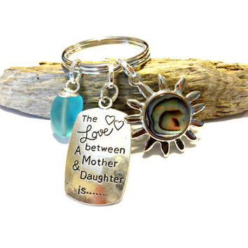 Mother Daughter Keychain, Abalone Shell Sun Keychain, Celestial Sea Glass Key Chain, Stamped Keychain, Car Accessory, Mom Daughter Gift