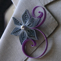 Grey and Purple Wedding Boutonniere, Grey Boutonniere, Purple Boutonniere, Royal Purple and Grey Wedding, Royal Purple Wedding