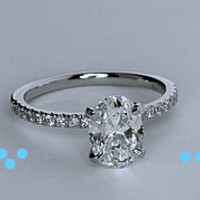 1.27ct H-SI1 Oval Diamond Engagement Ring 900,000 GIA certified diamonds JEWELFORME BLUE