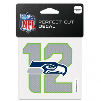 Seattle Seahawks 4x4 Perfect Cut Color Decal 12th Man