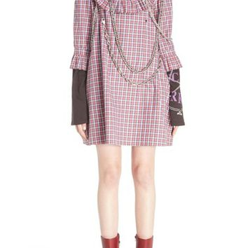 Vetements Chain Detail Frilled Plaid Shirtdress | Nordstrom