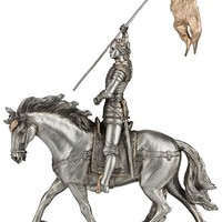 """RELIGIOUS STATUE - FIGURE, A Veronese St. Joan of Arc statue in a pewter style finish with golden highlights, 11"""""""