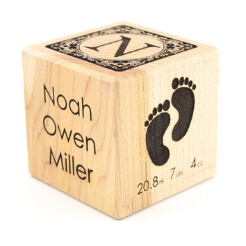 Personalized Baby Birth Block Gift Baby Blocks Baby's First Alphabet Block  New Baby Engraved Wooden Block