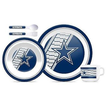 Licensed Official New NFL Dallas Cowboys Melamine Dinnerware Dinner Set 3pcs Plate Bowl Cup