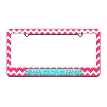 Island Girl Blue - Tropical Hibiscus Hawaii - License Plate Tag Frame - Pink Chevrons Design