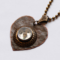 """Working Compass Necklace, Valentine's Necklace, """"TRUE"""" Hand Stamped Necklace, Moving Compass Jewelry, Wearable Tech Gift for her, SRAJD OOAK"""