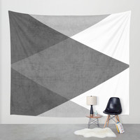 black and white triangles Wall Tapestry by Her Art