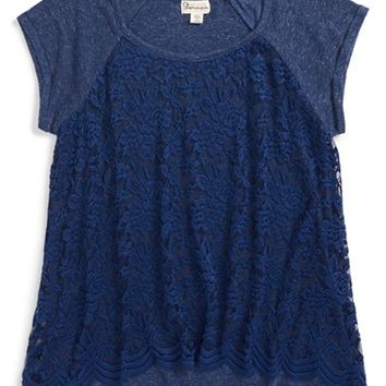 Girl's Ten Sixty Sherman Lace Raglan Tee,