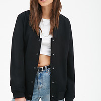 FOREVER 21 V-Neck Bomber Jacket Black